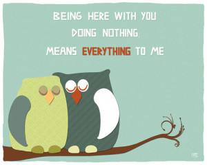 Owls art print love quote emotional wall art room decor, anniversary ...