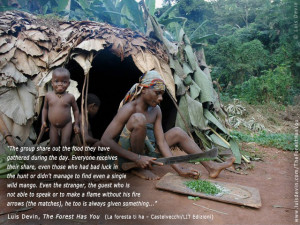 ... outside a leaf hut, in a rainforest camp (Baka Pygmies, Cameroon