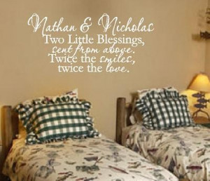 ... Sisters Wall Quote for Baby Twin Nursery or Bedroom 22h X 36w BA0093