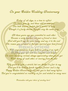 50th Wedding Anniversary Poems | Golden (50th) Wedding Anniversary ...