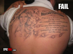 manly tattoo fail britney spears circus
