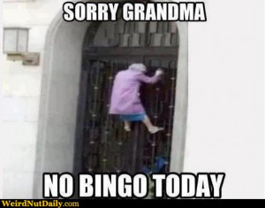 Grandma crawling gate: Sorry grandma, no bingo today.