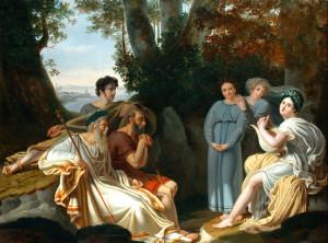 """Charles Nicolas Rafael Lafond, """"Sappho sings for Homer,"""" 1824"""