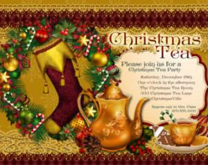... , Holiday Tea Party, Party Invitations, Tea Party, Christmas Tea