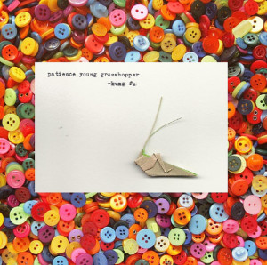 Origami Grasshopper Announcement Card with Kung Fu Quote, 3.5x5 Blank ...