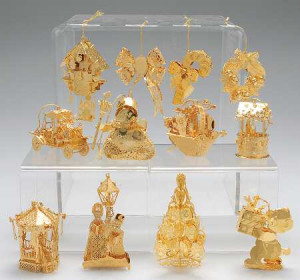 1996 Gold Christmas Ornament Collection