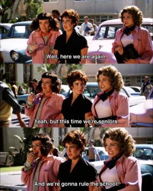 Retro movie fashion, Grease. The Pink Ladies. 1950s retro fashion