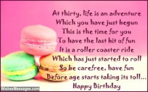 30th Birthday Poems