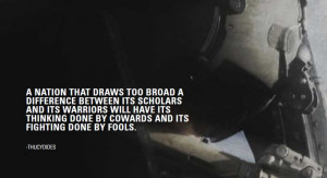 draws too broad a difference between its scholars and its warriors ...