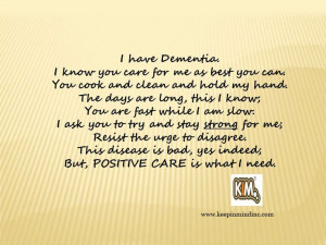 KIM Quotes are written to raise #dementia awareness. Keep In Mind, Inc ...