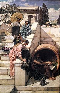 Diogenes by John William Waterhouse , depicting his lamp, tub, and ...