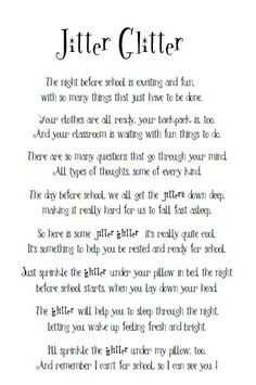 Before School Jitter Glitter... love this! Going to hand out this poem ...