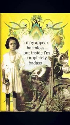 Harmless inside, badass, , vintage dress, motorcycle, quote More