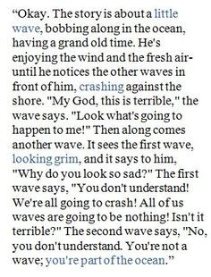 Tuesdays With Morrie quote ~ Story about a little wave More