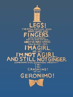 Doctor Who quote (regeneration from Ten to Eleven) ... someday, we ...