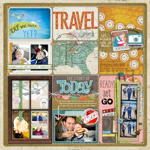 Scrapbook layout Travel by Frances. I love the different sizes of ...