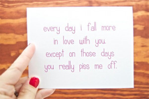 - Every Day I Fall More in Love With You. Funny Love Card.: In Love ...