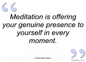 meditation is offering your genuine