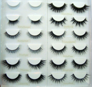 Here is a photo of all the eyelashes laid out at Velour Lashes' IMATS ...
