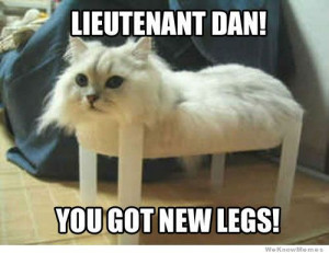 Lieutenant Dan! You got new legs!