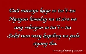 The very sad Tagalog Love Quote for you is here. Sometimes serious ...