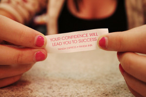 confidence, girl, nails, paper, pink, quote, success, text