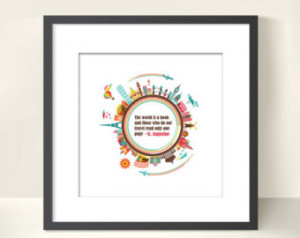 Travel Quote - The World is a book. - Cute travel print for you or a ...
