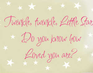 Nursery Quote Saying Wall Decal Twi nkle Little Star Baby Boy Girl ...