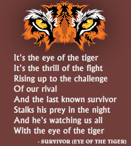 Lyrics from the Eye of the Tiger song