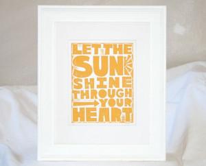 Letterpress Sunshine Print Inspirational Quote Let the Sunshine Print