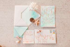 Aqua and peach seaside wedding inspiration | Photo by Michelle March ...