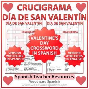 Valentine's Day Crossword in Spanish – Crucigrama – Día de San ...