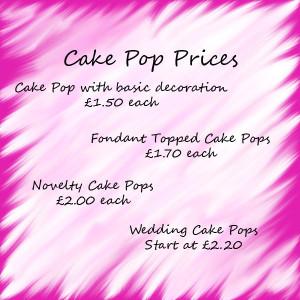Cake Pop Price List