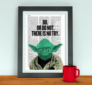 ... print wall art, Star wars Yoda quote poster print, geek art BPTQ047