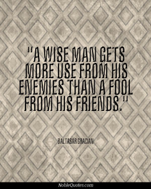 ... wise man gets more use from his enemies than a fool from his friends