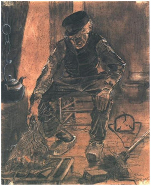 Vincent van Gogh's Farmer Sitting at the Fireplace Drawing