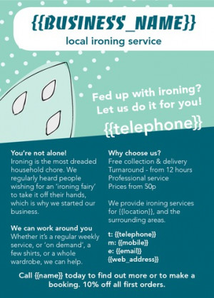 Ironing and Laundry Services A6 Leaflets by Ashley Moore | Flyerzone