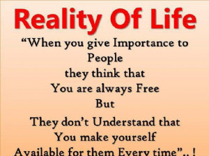 Reality Of Life Facebook Quote