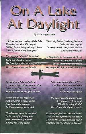Stan's poem, On A Lake At Daylight. Courtesy of Stan Fagerstrom.