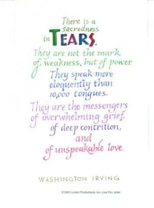 Tears Washington Irving quote - grief