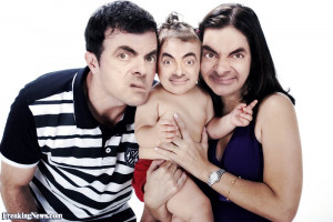 Mr Bean as a Baby with his Parents - pictures