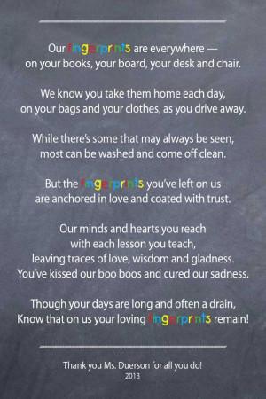 Teacher / Nanny / Babysitter thank you poem Fingerprints by 3lbd, $9 ...