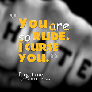 Quotes Picture: you are so rude i curse you