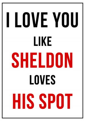 Love You Like Sheldon Loves His Spot Funny Quote