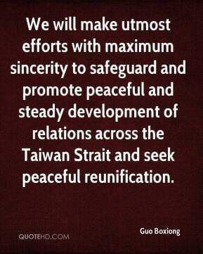 ... of relations across the Taiwan Strait and seek peaceful reunification