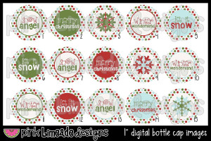 Snow Angel - Cute Christmas/Winter Sayings - 1 inch Digital Bottle Cap ...