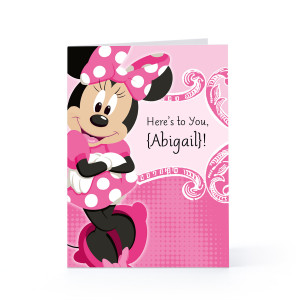 Minnie Mouse Happy Birthday Card Here's to you - minnie mouse