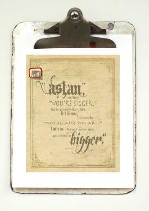 Aslan Art Print C.S. Lewis Typography Quote Art by pjeanartmachine,
