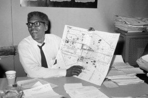 Bayard Rustin, a civil-rights leader, pacifist and gay man, shows ...