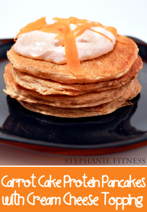 Carrot Cake Protein Pancakes with Cream Cheese Frosting by Stephanie ...